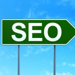 Web development concept: SEO on road sign background